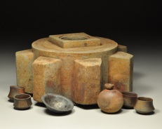 Block Gear Reliquary, Cantaro, Mezcal Cups, and Forged Iron Bowl